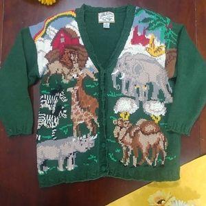 Heirloom Collectibles Noahs Ark Cardigan Sweater